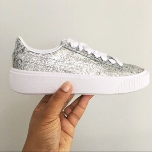 Puma Basket Platform Silver Glitter Shoes Sz 6.5
